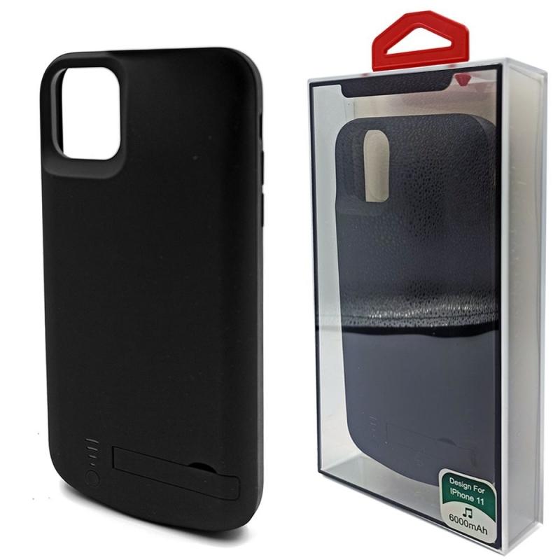 Чехол зарядка для iPhone 11 6000mAh черный